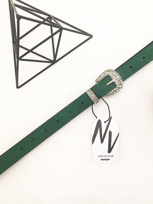 Leaf Green Leather Belt