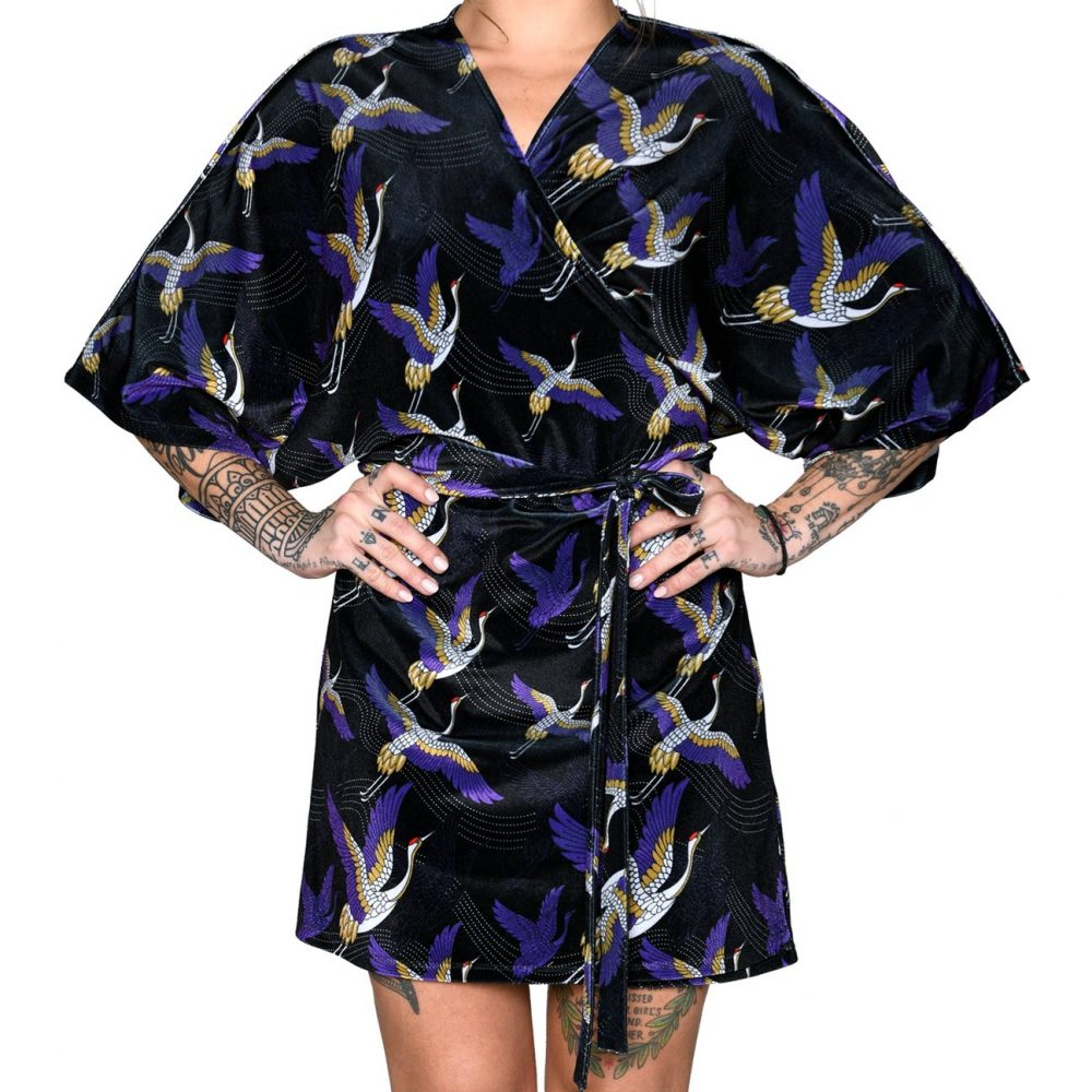 Heartbeatink Japanese Velvet Mini Wrap Dress
