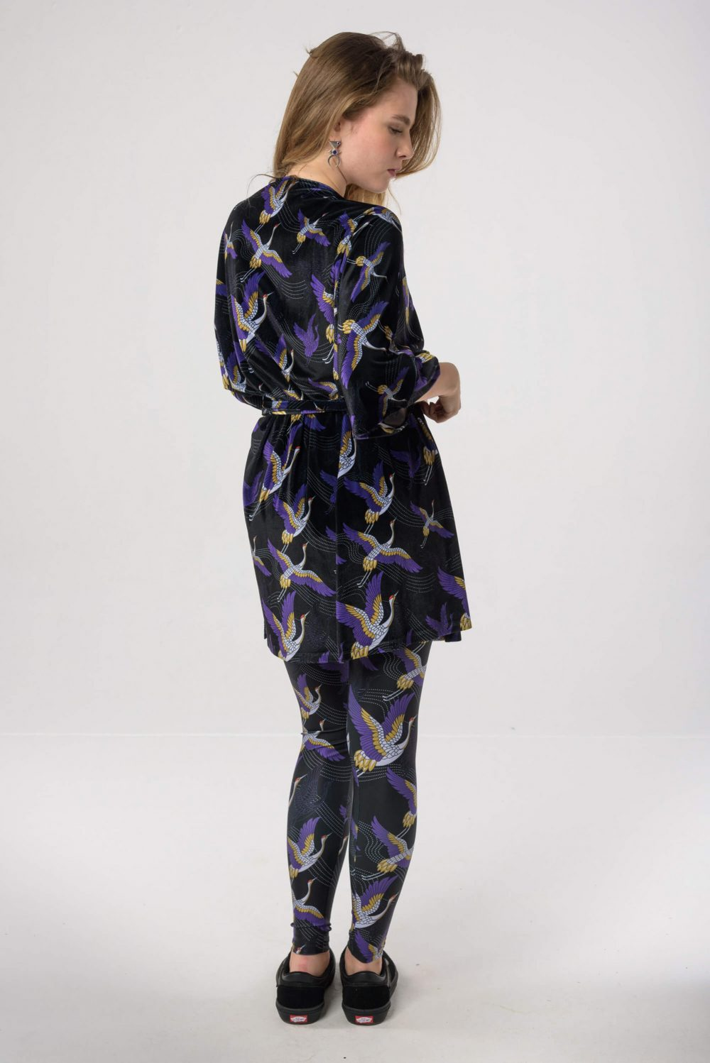 Heartbeatink Japanese Black N Purple Velvet Wrap Dress Leggings