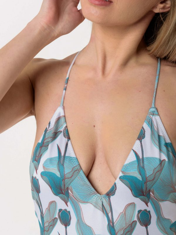 Heartbeatink Mint flower Halter One-piece Swimsuit