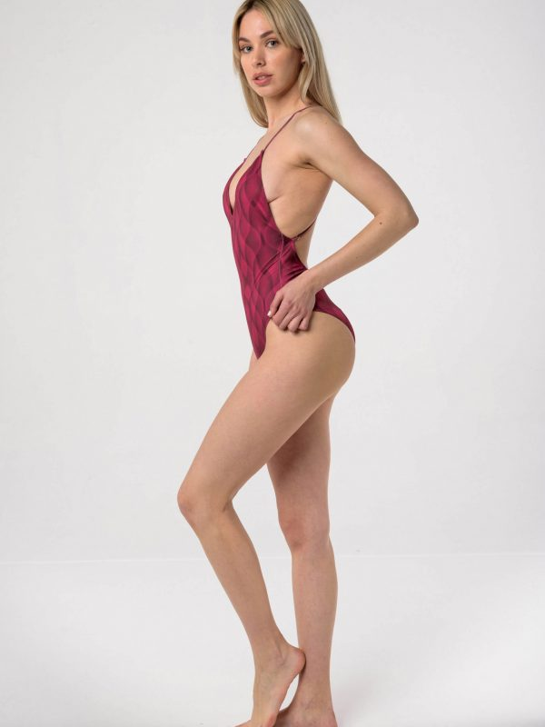 Heartbeatink Magenta Halter One-piece Swimsuit