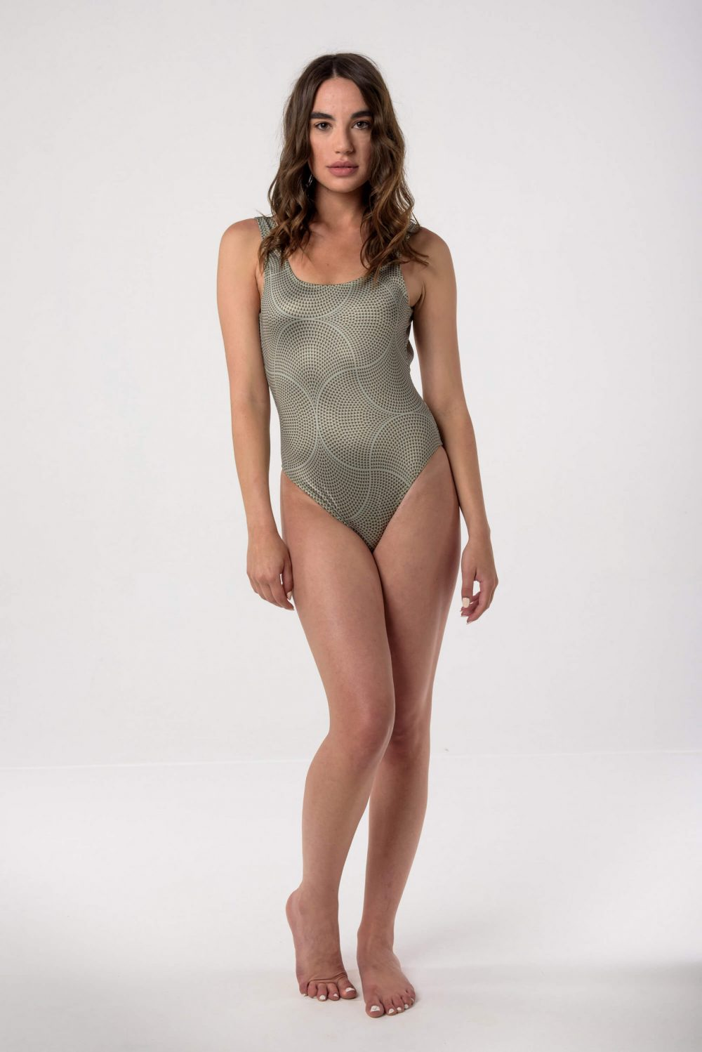 Heartbeatink Mosaic Khaki One-piece Swimsuit