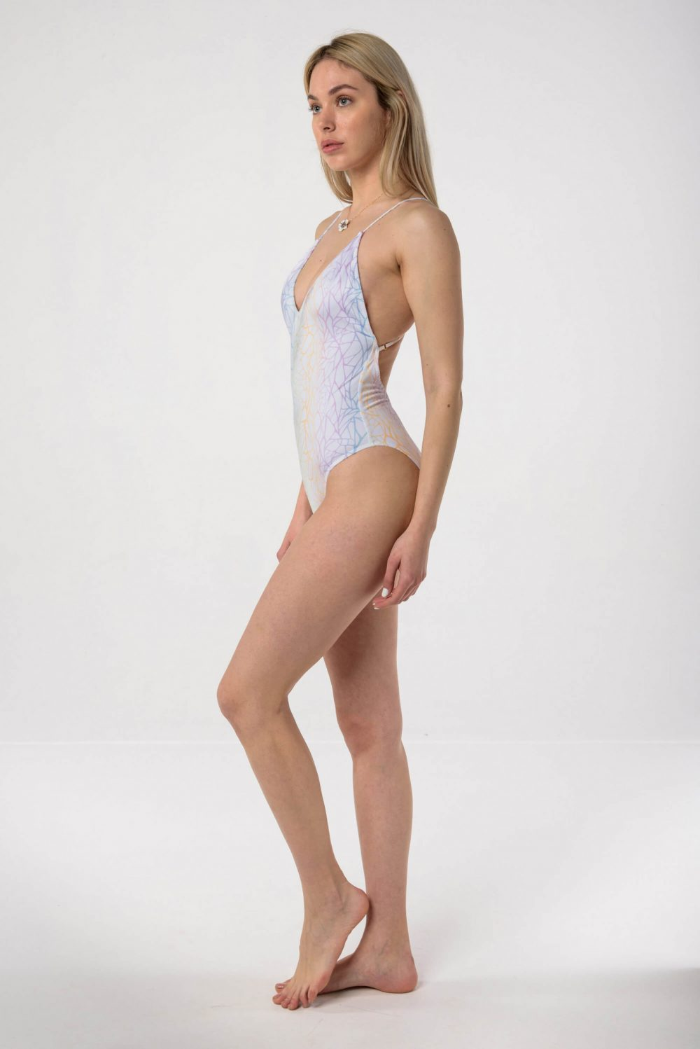 Heartbeatink Rainbow Marble Halter One-piece Swimsuit