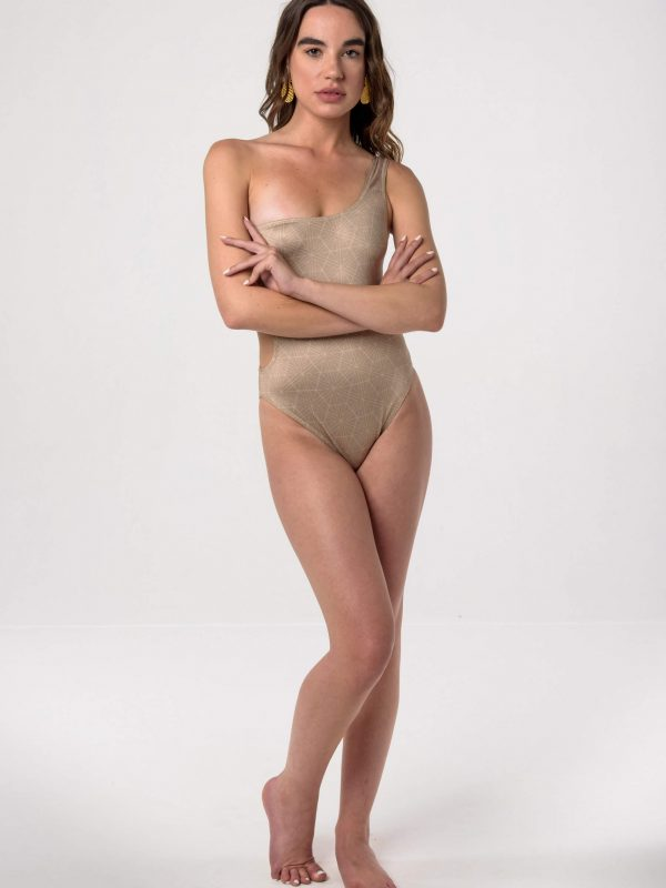 Heartbeatink Nude One Shoulder One-piece Swimsuit