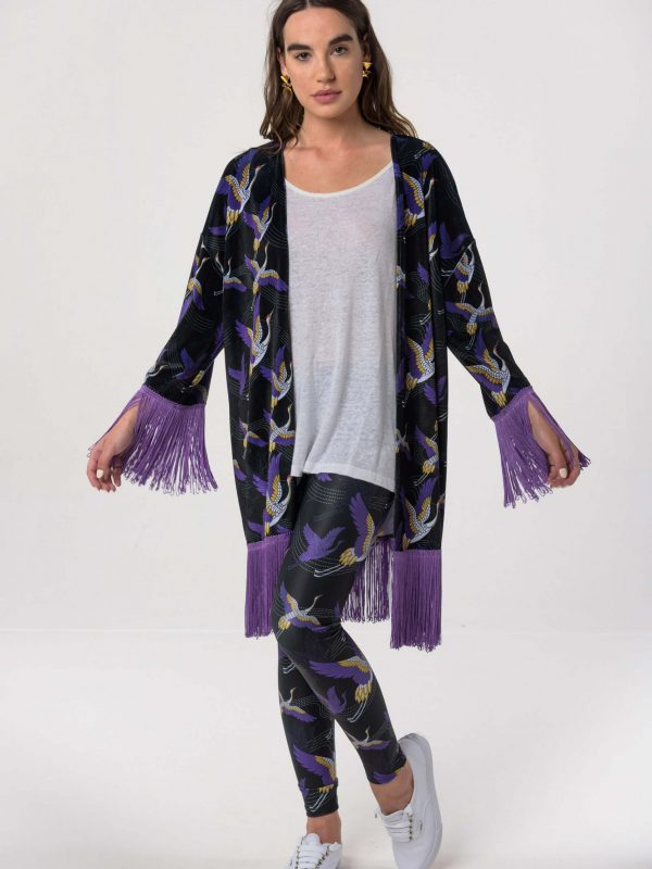 Heartbeatink Japanese Black N Purple Velvet Kimono Leggings