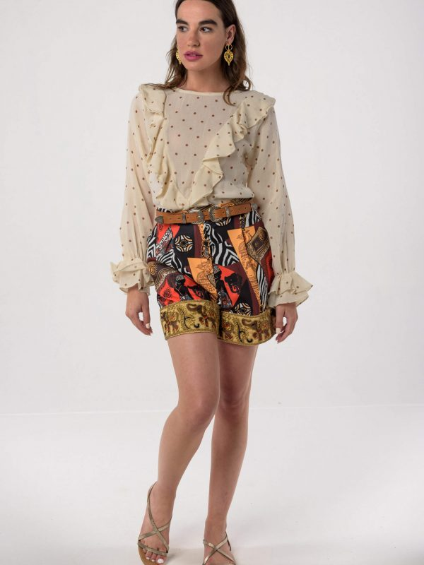 Africana Shorts / Cocoa Polka Dot Top by Mallory / NV Plesti