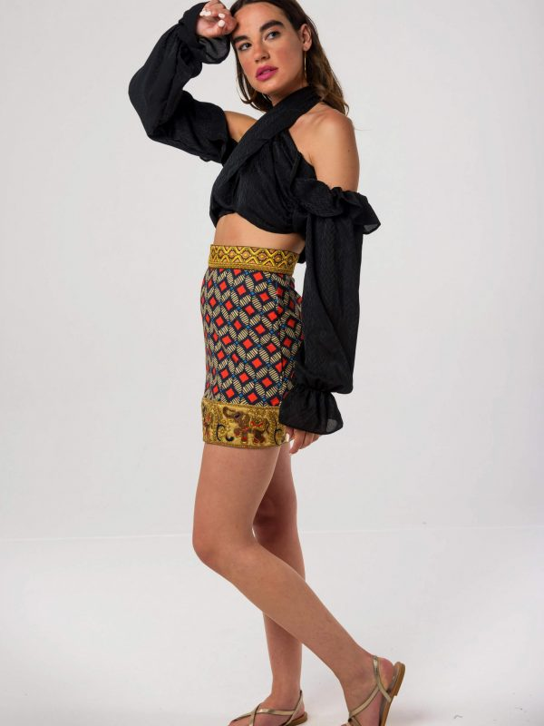 Elephant Skirt / Namibia Black Crop Top by Mallory